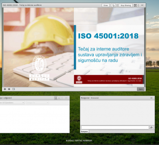 Održan webinar za ISO 45001:2018 interne auditore
